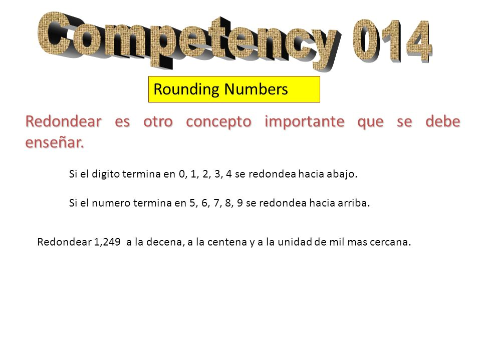 Competency 014 Rounding Numbers