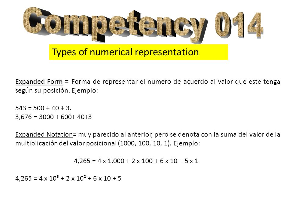 Competency 014 Types of numerical representation