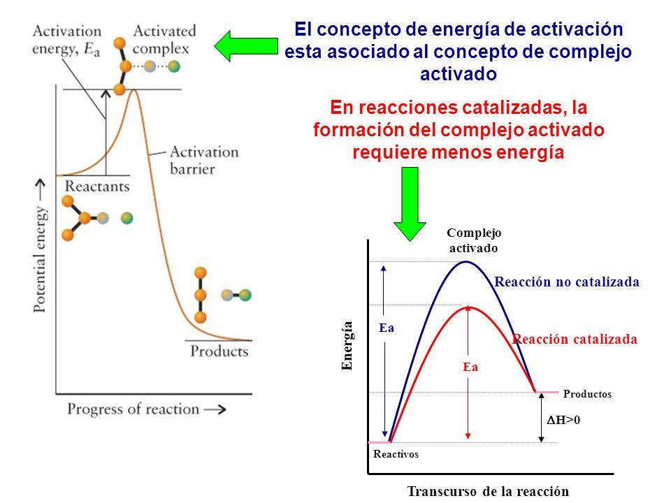El concepto de energía de activación esta asociado al concepto de complejo activado