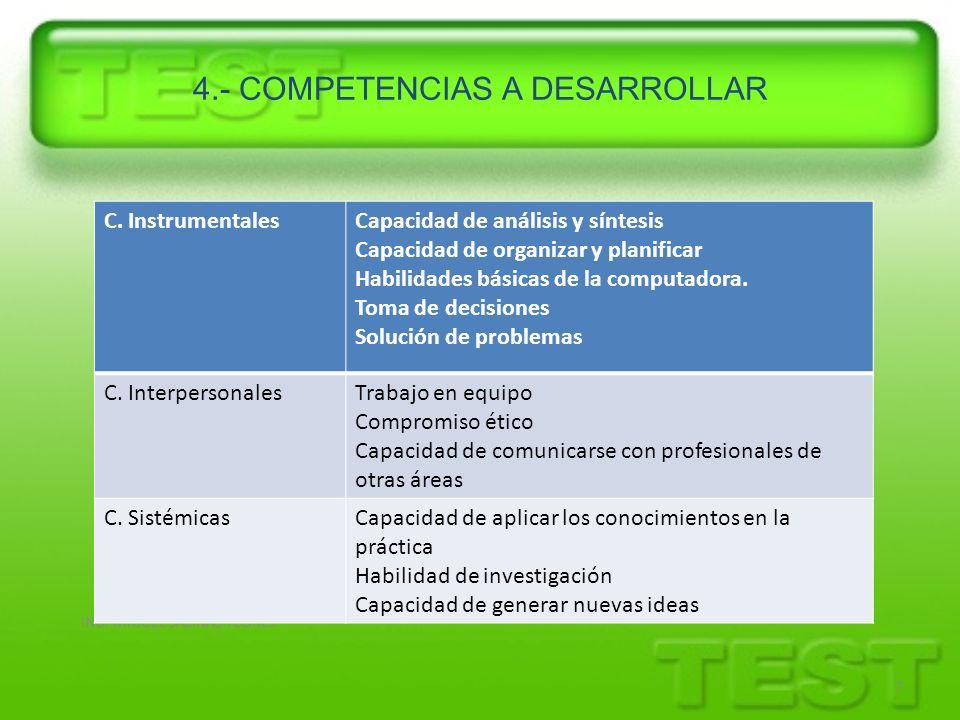 4.- COMPETENCIAS A DESARROLLAR