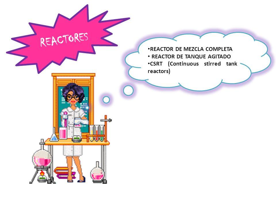 REACTORES REACTOR DE MEZCLA COMPLETA REACTOR DE TANQUE AGITADO
