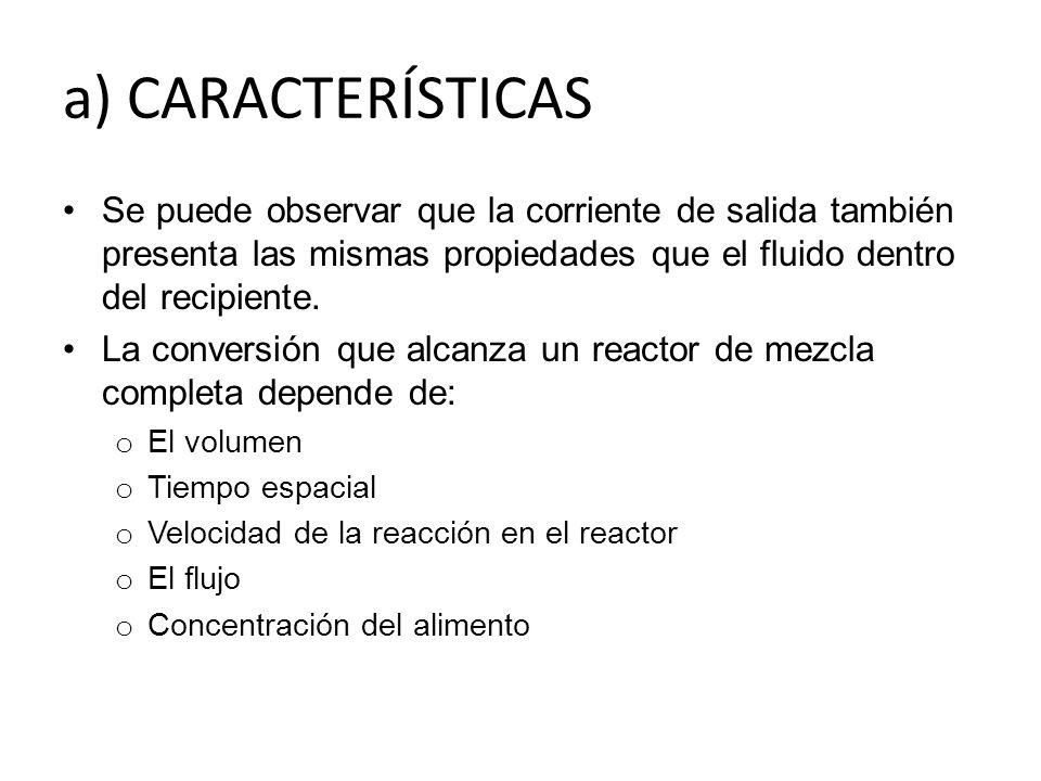 a) CARACTERÍSTICAS Se puede observar que la corriente de salida también presenta las mismas propiedades que el fluido dentro del recipiente.
