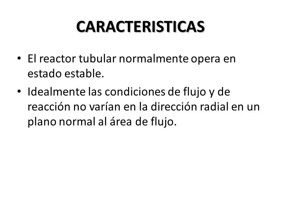 CARACTERISTICAS El reactor tubular normalmente opera en estado estable.