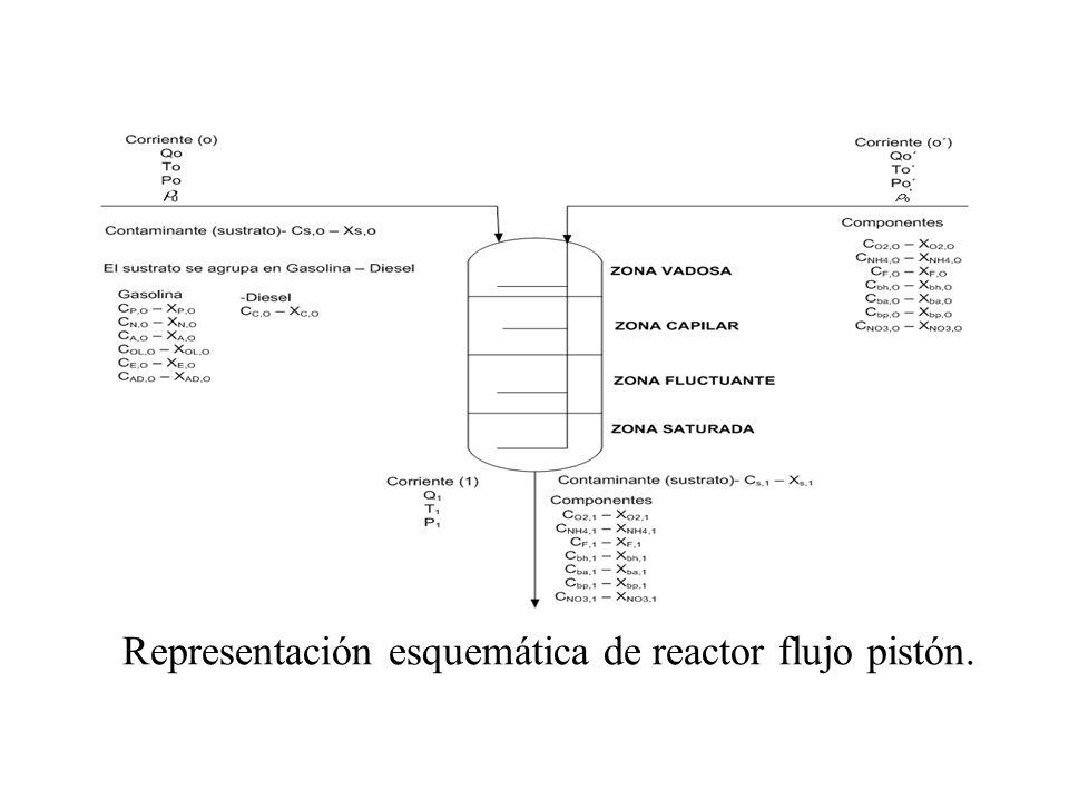 Representación esquemática de reactor flujo pistón.