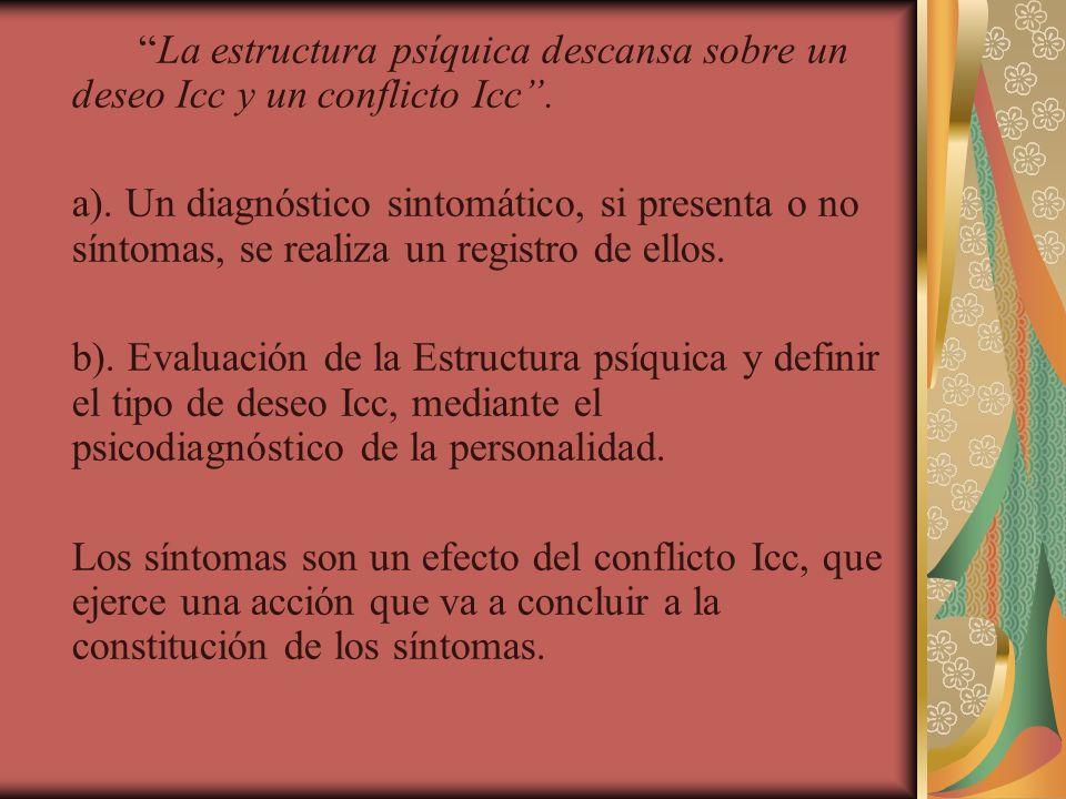 La estructura psíquica descansa sobre un deseo Icc y un conflicto Icc .