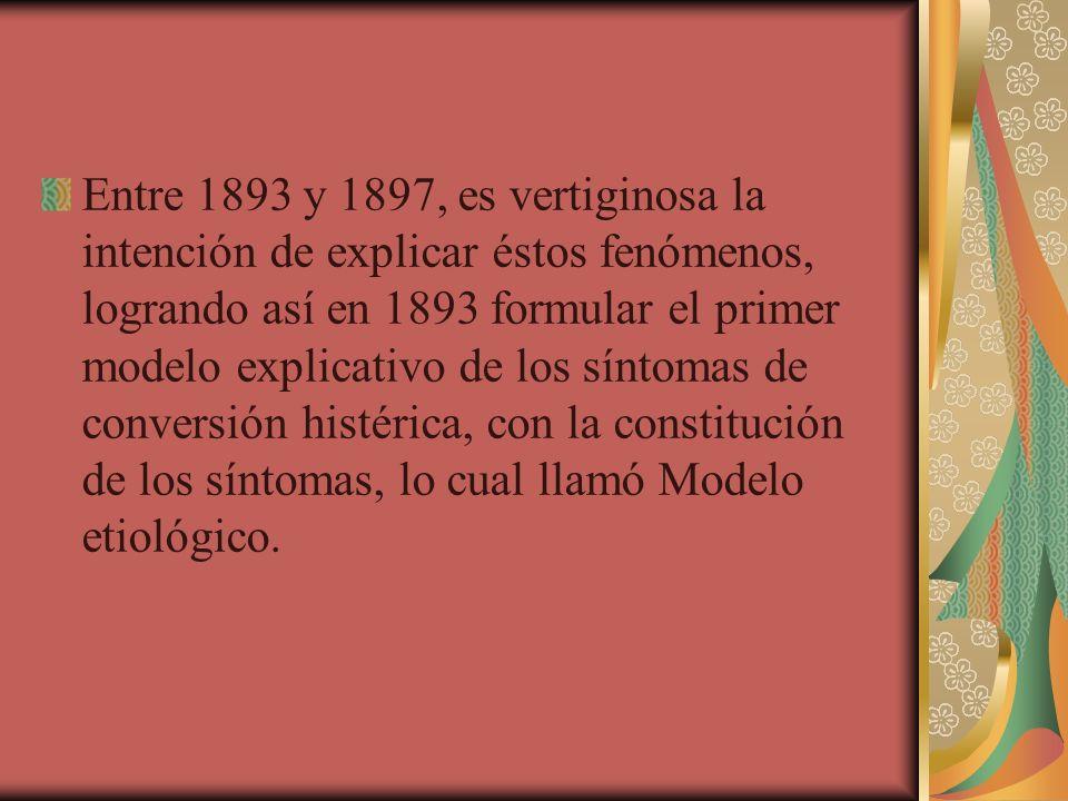 Entre 1893 y 1897, es vertiginosa la intención de explicar éstos fenómenos, logrando así en 1893 formular el primer modelo explicativo de los síntomas de conversión histérica, con la constitución de los síntomas, lo cual llamó Modelo etiológico.