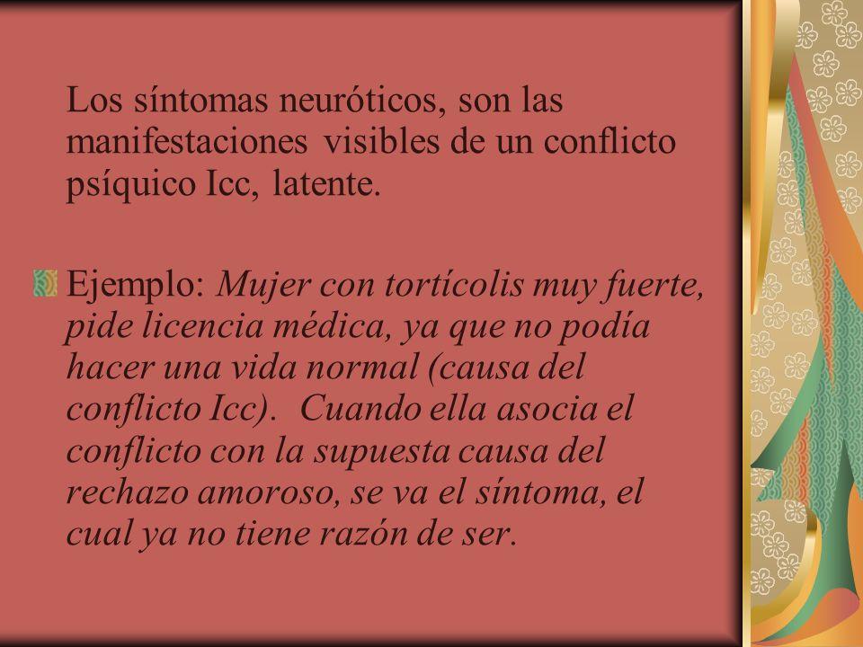 Los síntomas neuróticos, son las manifestaciones visibles de un conflicto psíquico Icc, latente.