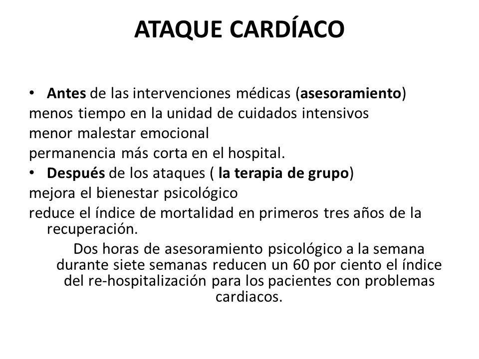 ATAQUE CARDÍACO Antes de las intervenciones médicas (asesoramiento)