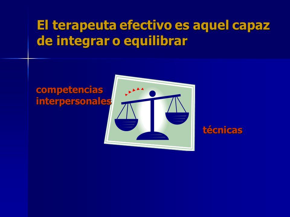 El terapeuta efectivo es aquel capaz de integrar o equilibrar