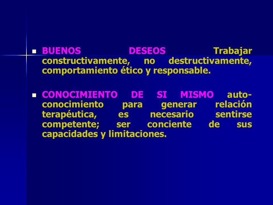 BUENOS DESEOS Trabajar constructivamente, no destructivamente, comportamiento ético y responsable.