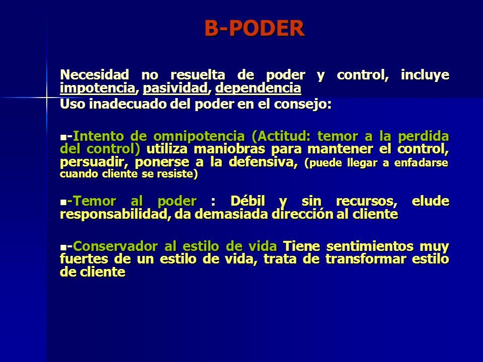 B-PODER Necesidad no resuelta de poder y control, incluye impotencia, pasividad, dependencia. Uso inadecuado del poder en el consejo: