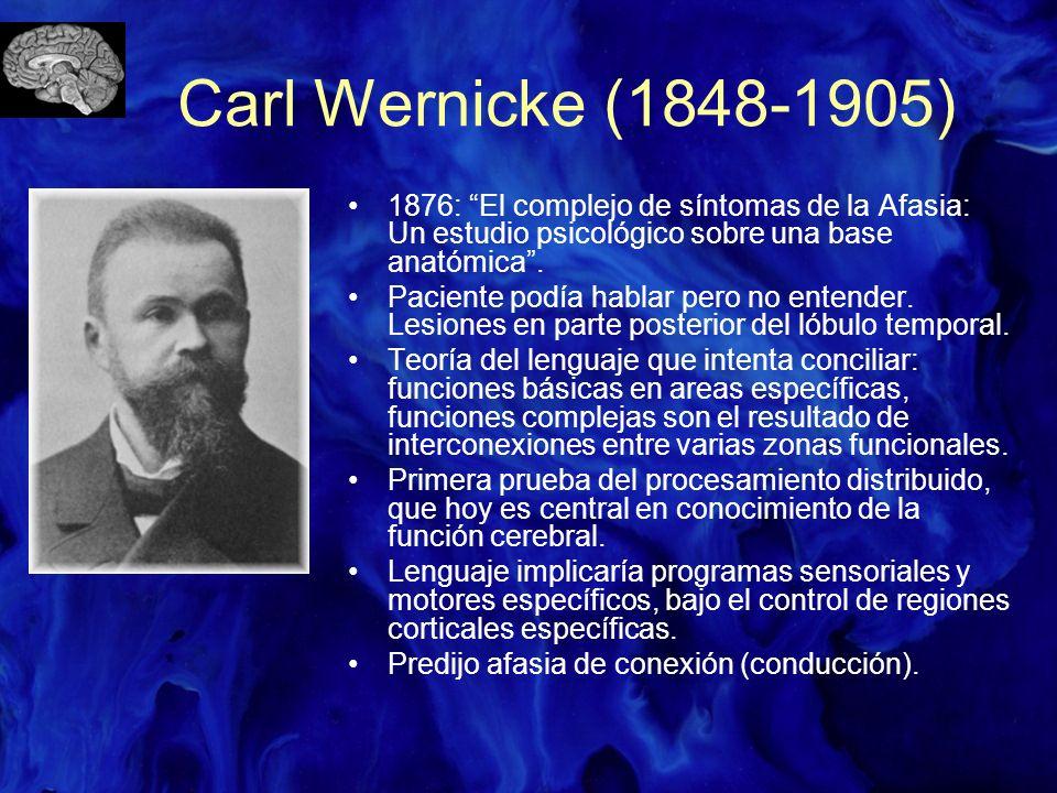Carl Wernicke (1848-1905) 1876: El complejo de síntomas de la Afasia: Un estudio psicológico sobre una base anatómica .