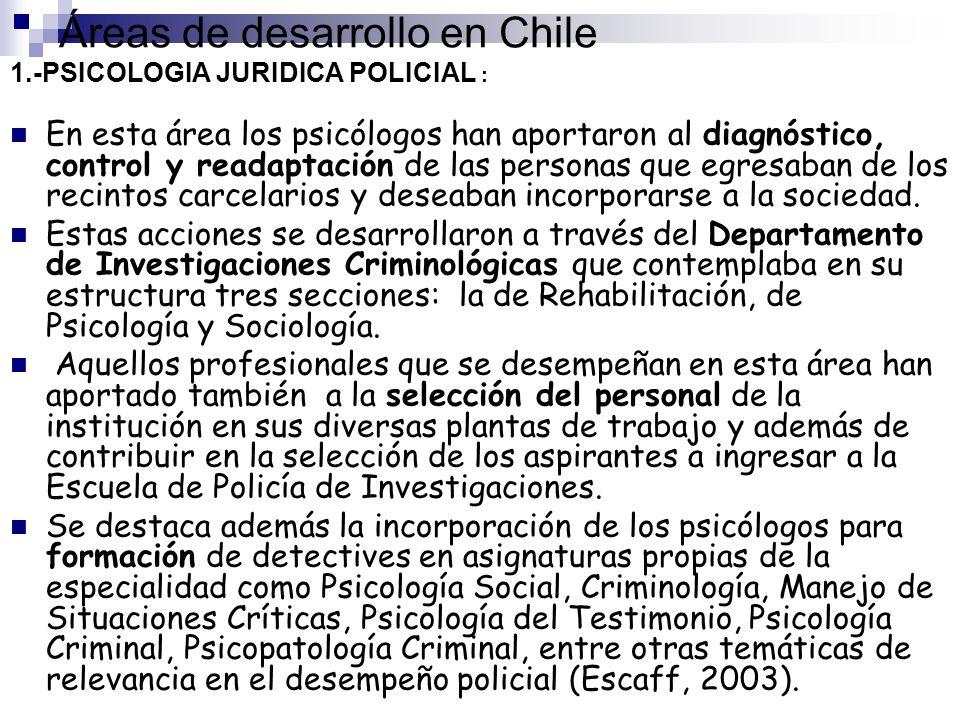 Áreas de desarrollo en Chile