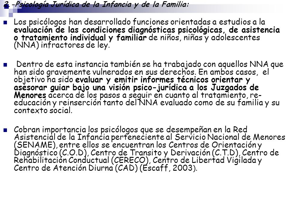 2.-Psicología Jurídica de la Infancia y de la Familia: