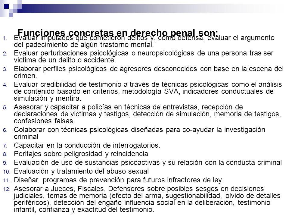 Funciones concretas en derecho penal son: