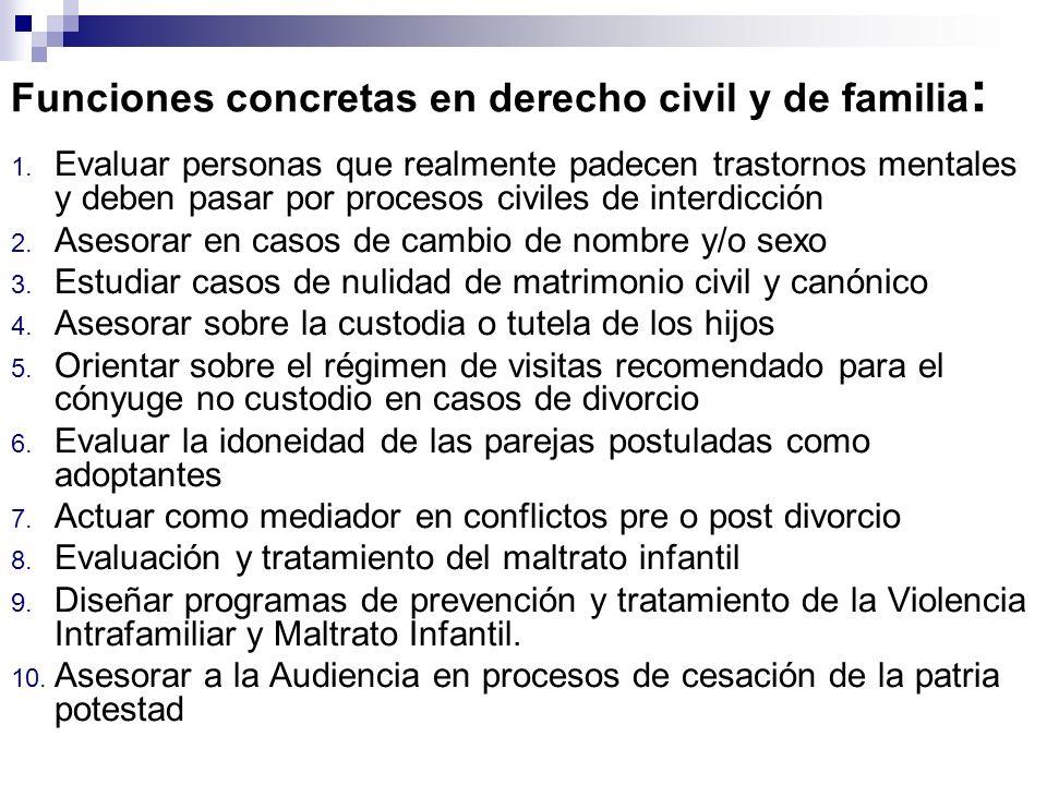 Funciones concretas en derecho civil y de familia: