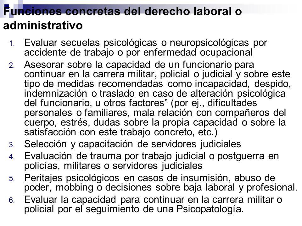Funciones concretas del derecho laboral o administrativo