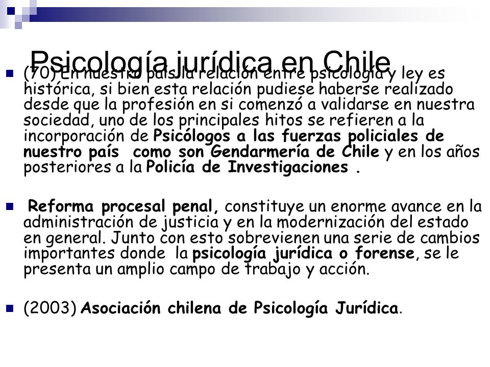 Psicología jurídica en Chile