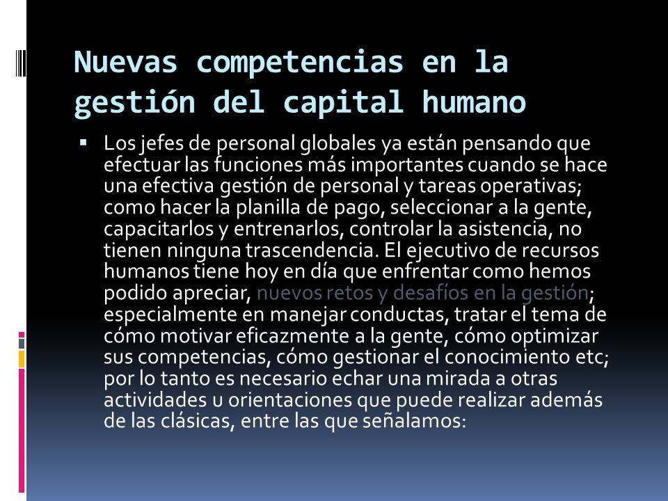 Nuevas competencias en la gestión del capital humano