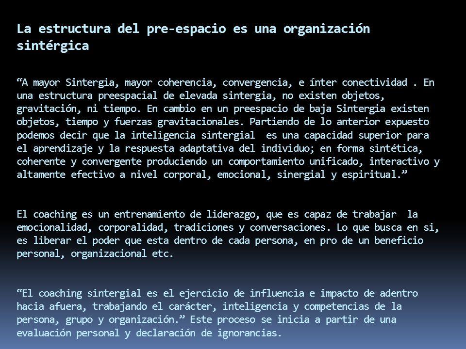 La estructura del pre-espacio es una organización sintérgica A mayor Sintergia, mayor coherencia, convergencia, e ínter conectividad .