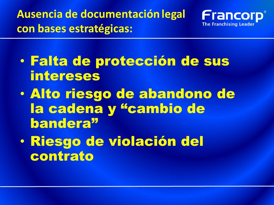 Ausencia de documentación legal con bases estratégicas: