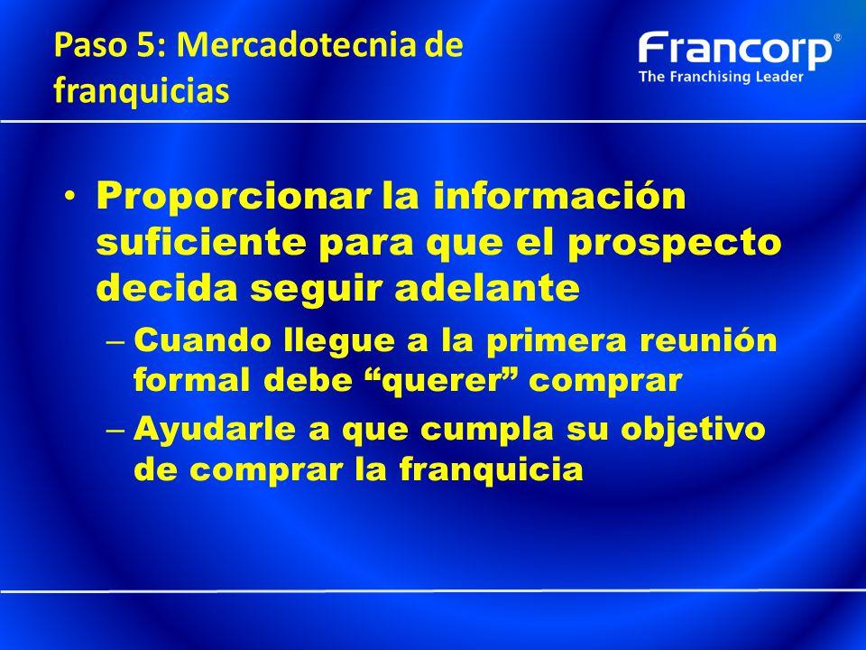 Paso 5: Mercadotecnia de franquicias