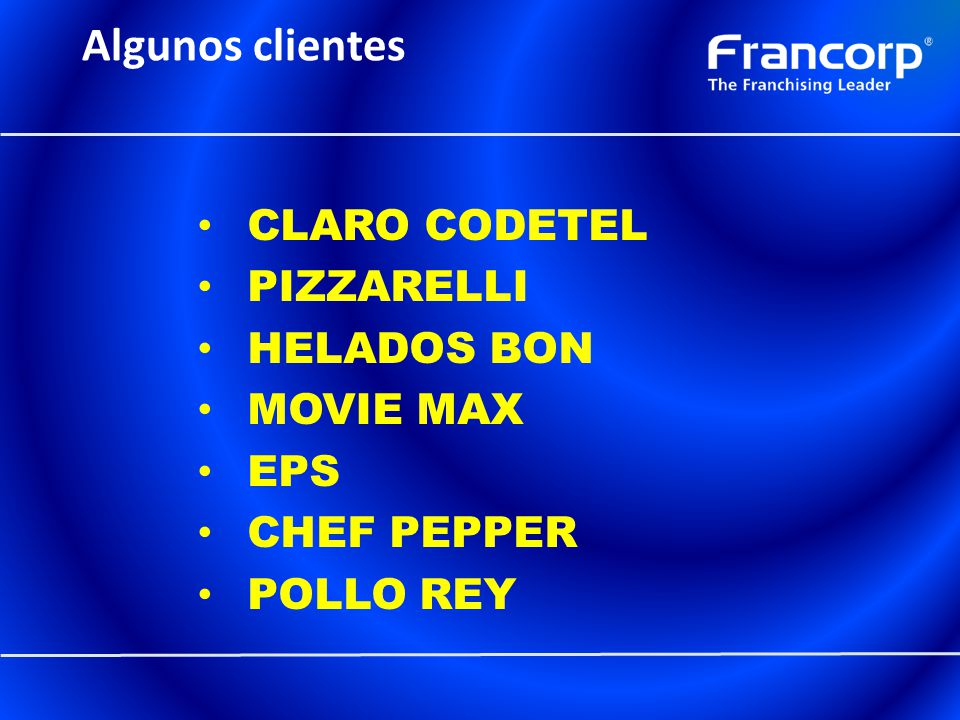Algunos clientes CLARO CODETEL PIZZARELLI HELADOS BON MOVIE MAX EPS