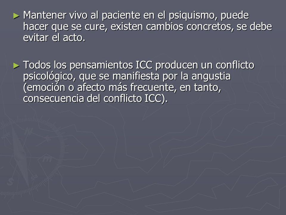 Mantener vivo al paciente en el psiquismo, puede hacer que se cure, existen cambios concretos, se debe evitar el acto.