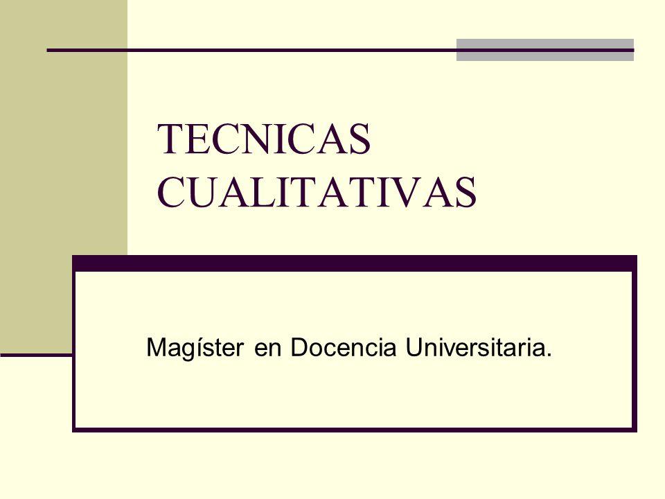 TECNICAS CUALITATIVAS