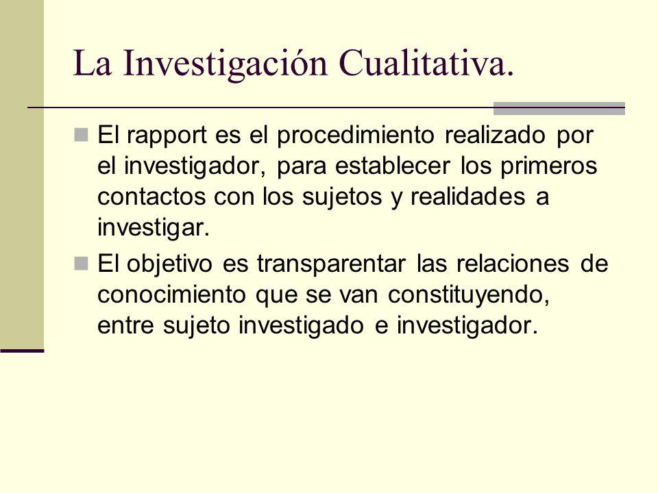 La Investigación Cualitativa.