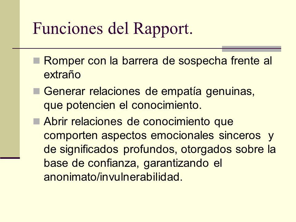 Funciones del Rapport. Romper con la barrera de sospecha frente al extraño. Generar relaciones de empatía genuinas, que potencien el conocimiento.