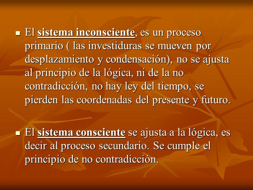 El sistema inconsciente, es un proceso primario ( las investiduras se mueven por desplazamiento y condensación), no se ajusta al principio de la lógica, ni de la no contradicción, no hay ley del tiempo, se pierden las coordenadas del presente y futuro.