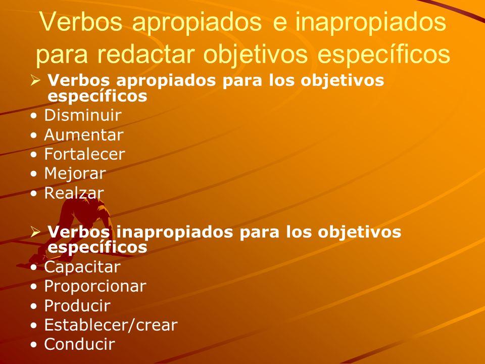 Verbos apropiados e inapropiados para redactar objetivos específicos