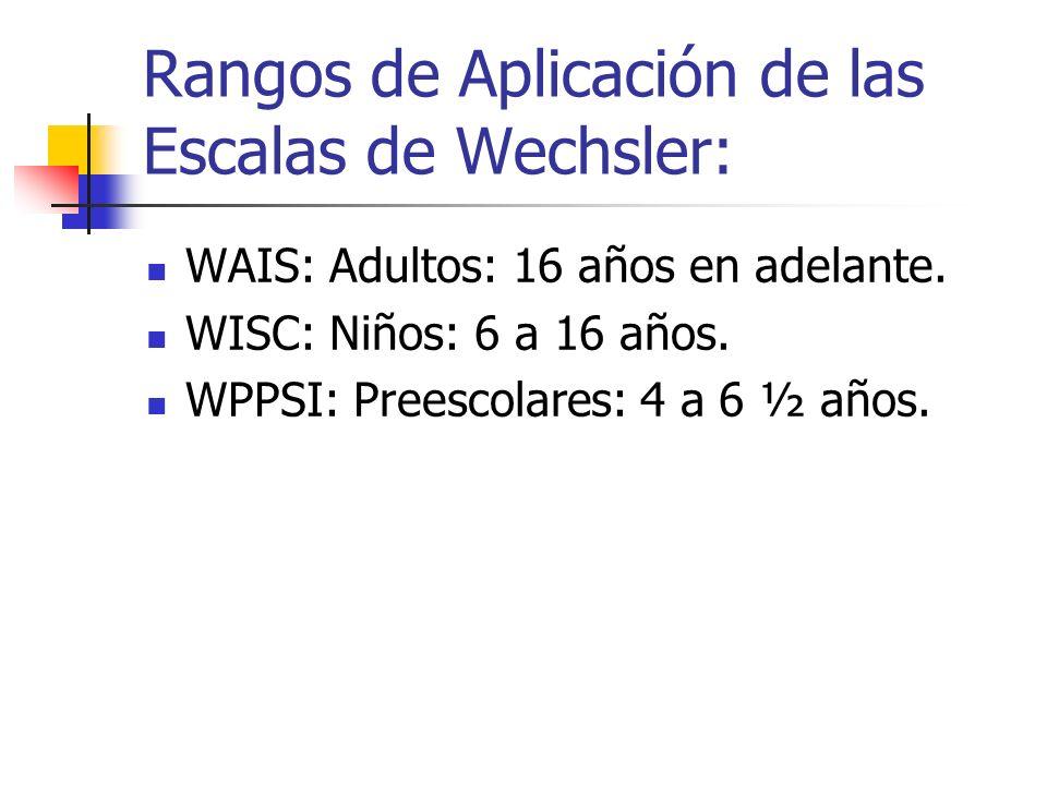 Rangos de Aplicación de las Escalas de Wechsler: