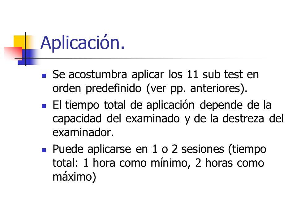 Aplicación. Se acostumbra aplicar los 11 sub test en orden predefinido (ver pp. anteriores).