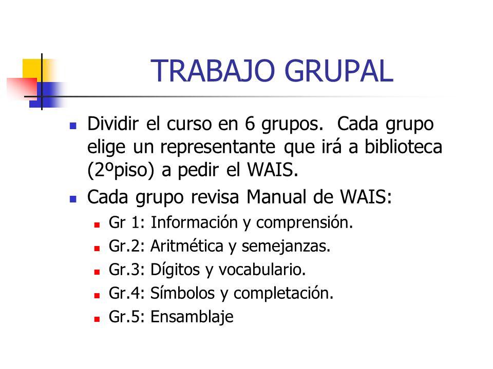 TRABAJO GRUPALDividir el curso en 6 grupos. Cada grupo elige un representante que irá a biblioteca (2ºpiso) a pedir el WAIS.