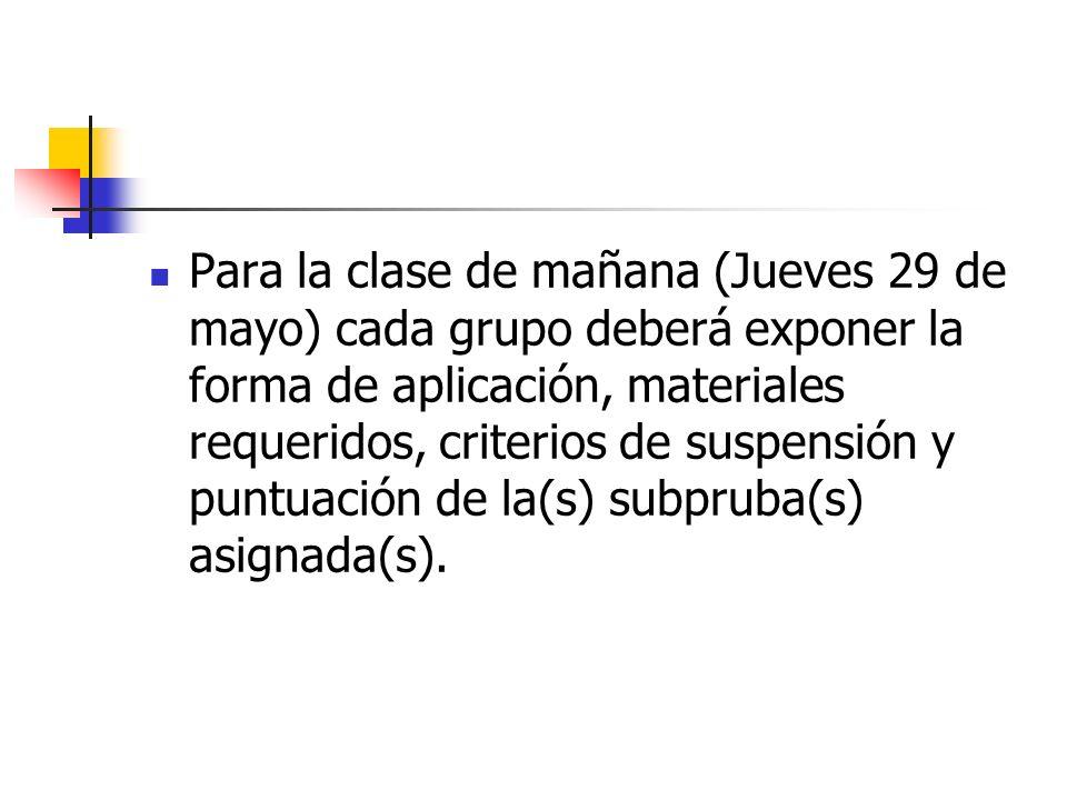Para la clase de mañana (Jueves 29 de mayo) cada grupo deberá exponer la forma de aplicación, materiales requeridos, criterios de suspensión y puntuación de la(s) subpruba(s) asignada(s).