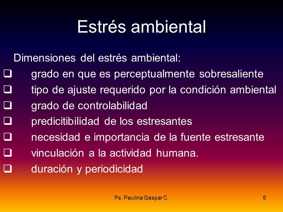 Estrés ambiental Dimensiones del estrés ambiental: