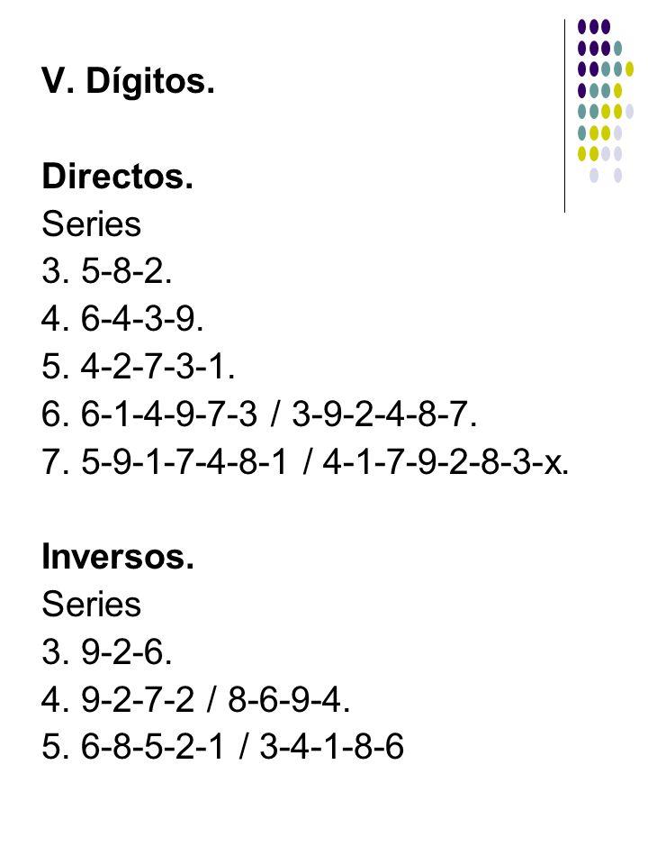 V. Dígitos. Directos. Series. 3. 5-8-2. 4. 6-4-3-9. 5. 4-2-7-3-1. 6. 6-1-4-9-7-3 / 3-9-2-4-8-7.
