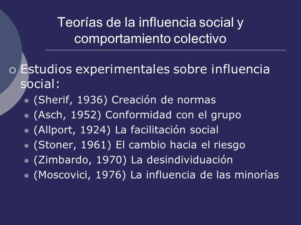 Teorías de la influencia social y comportamiento colectivo