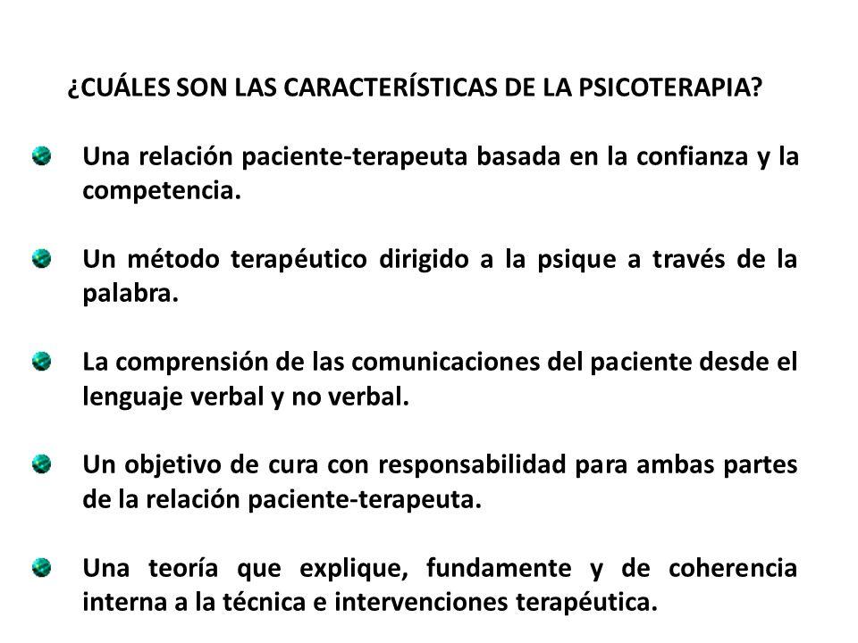 ¿CUÁLES SON LAS CARACTERÍSTICAS DE LA PSICOTERAPIA