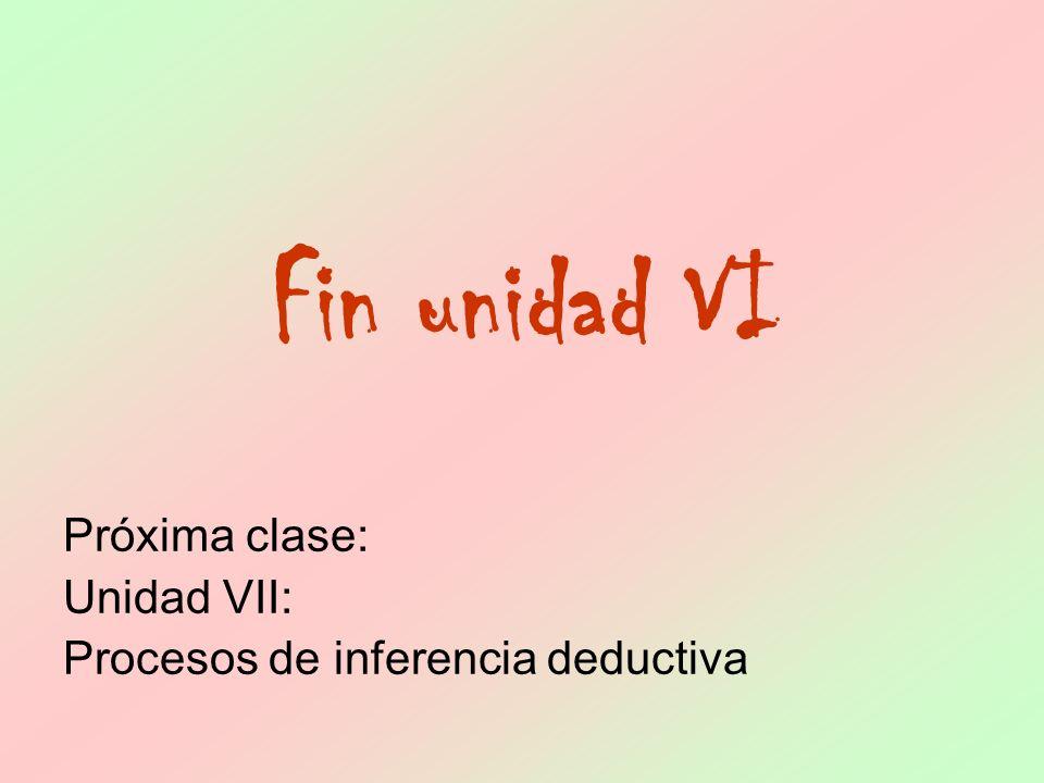 Fin unidad VI Próxima clase: Unidad VII: