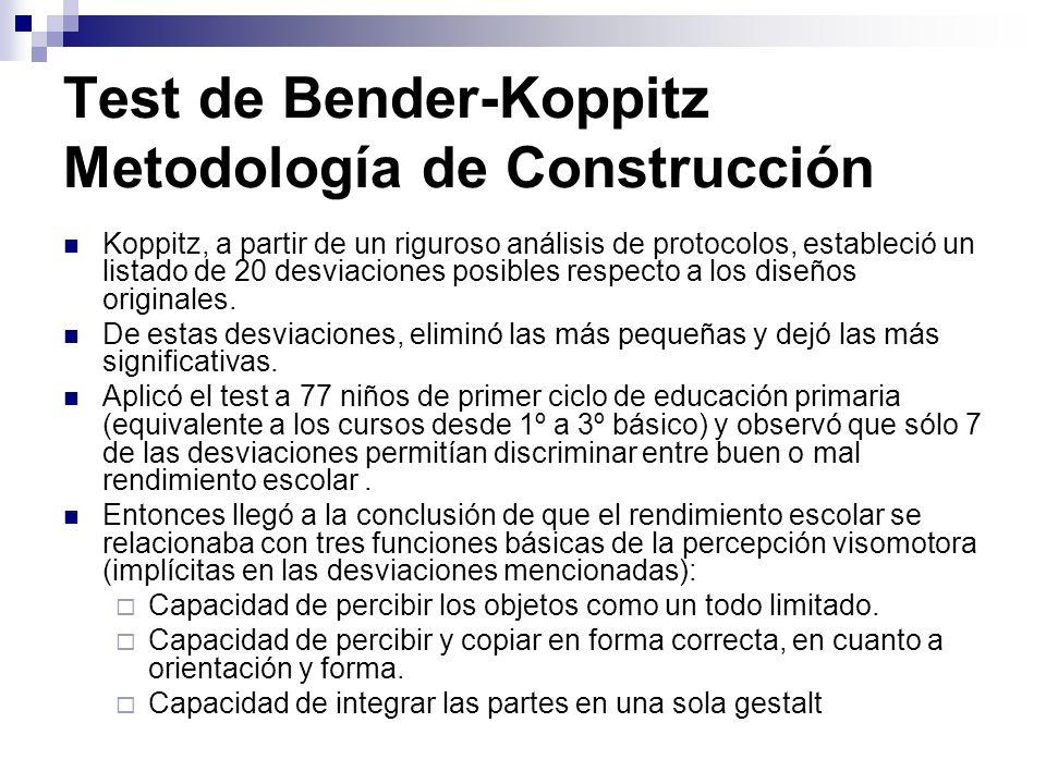 Test de Bender-Koppitz Metodología de Construcción