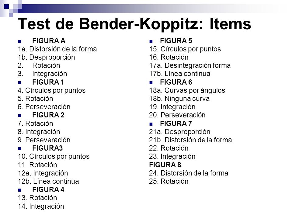 Test de Bender-Koppitz: Items