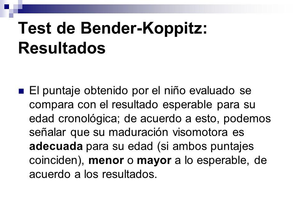 Test de Bender-Koppitz: Resultados