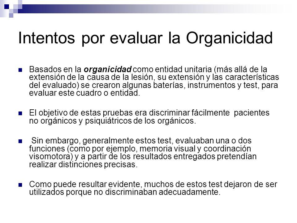 Intentos por evaluar la Organicidad
