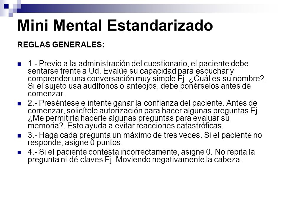 Mini Mental Estandarizado