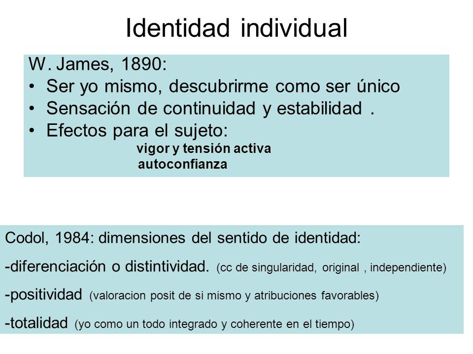Identidad individual W. James, 1890: