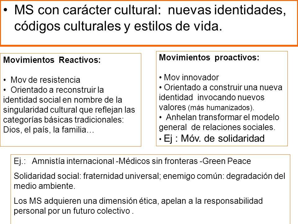 MS con carácter cultural: nuevas identidades, códigos culturales y estilos de vida.