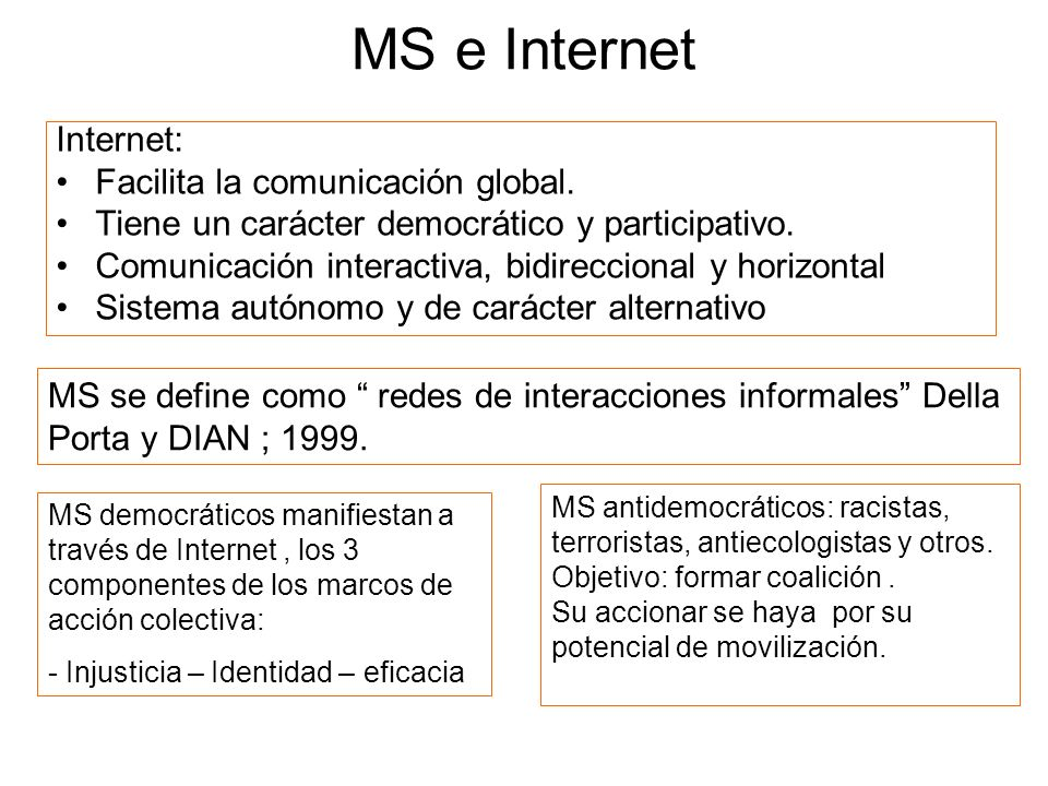 MS e Internet Internet: Facilita la comunicación global.